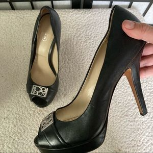 Coach Black leather Peep Toe Pumps High Heels Silver Hardware US Size 7